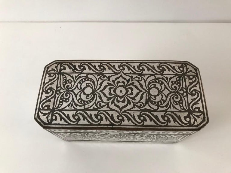 Set of Four Silver and Bronze Inlaid Betel Nut Boxes For Sale 6