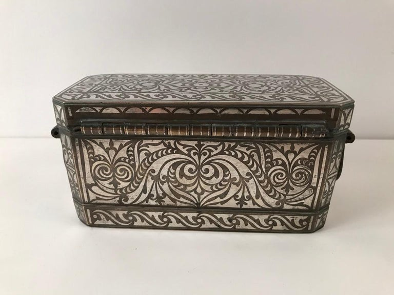 Set of Four Silver and Bronze Inlaid Betel Nut Boxes For Sale 7