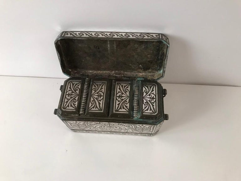 Set of Four Silver and Bronze Inlaid Betel Nut Boxes For Sale 8