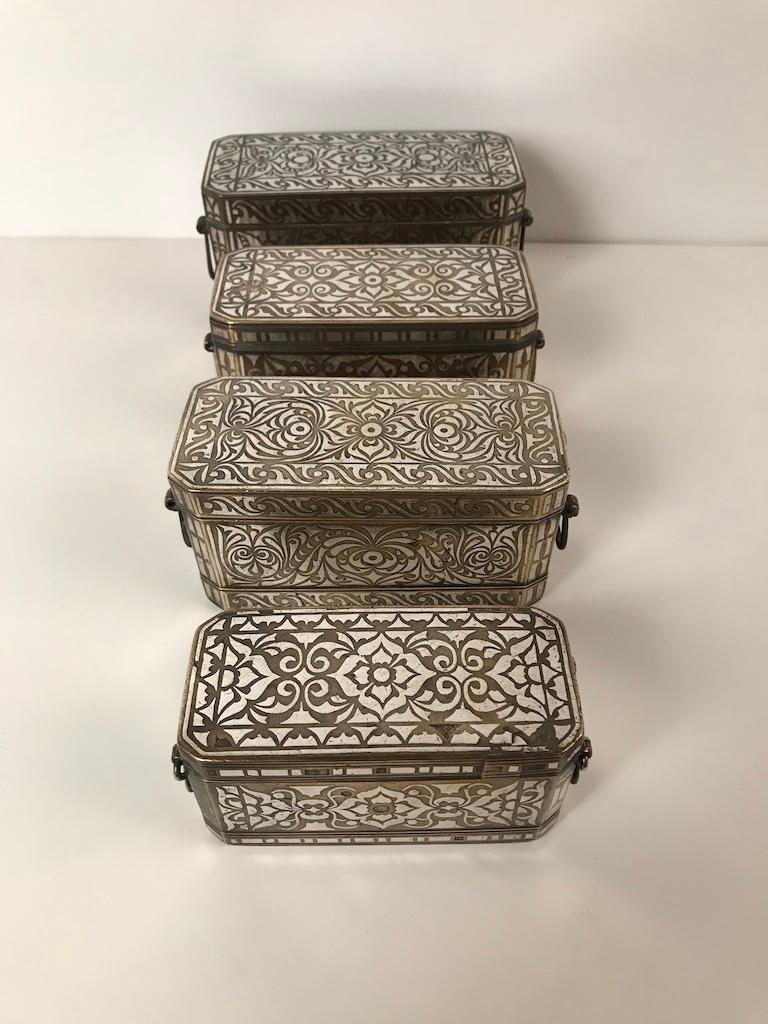 Set of Four Silver and Bronze Inlaid Betel Nut Boxes For Sale 9