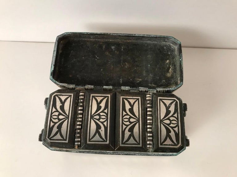Set of Four Silver and Bronze Inlaid Betel Nut Boxes For Sale 10