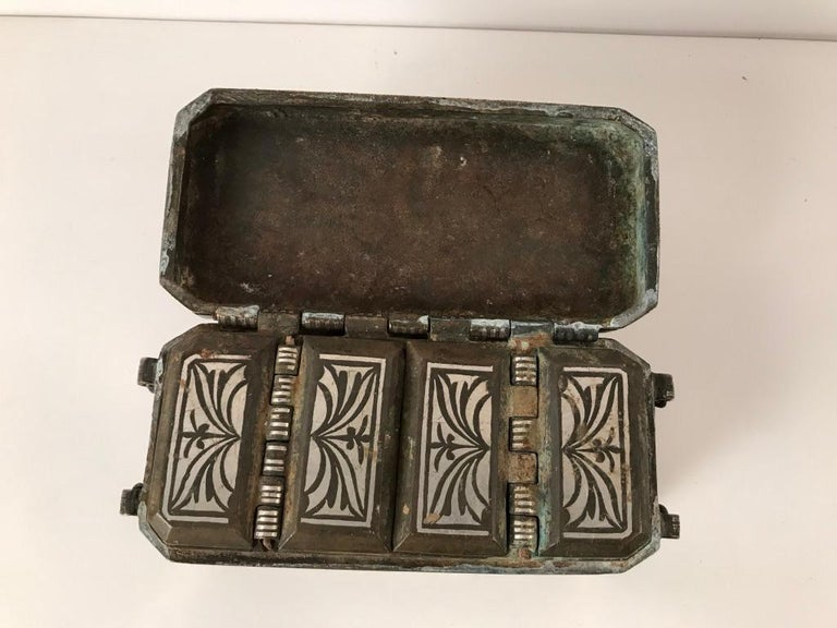Set of Four Silver and Bronze Inlaid Betel Nut Boxes For Sale 11