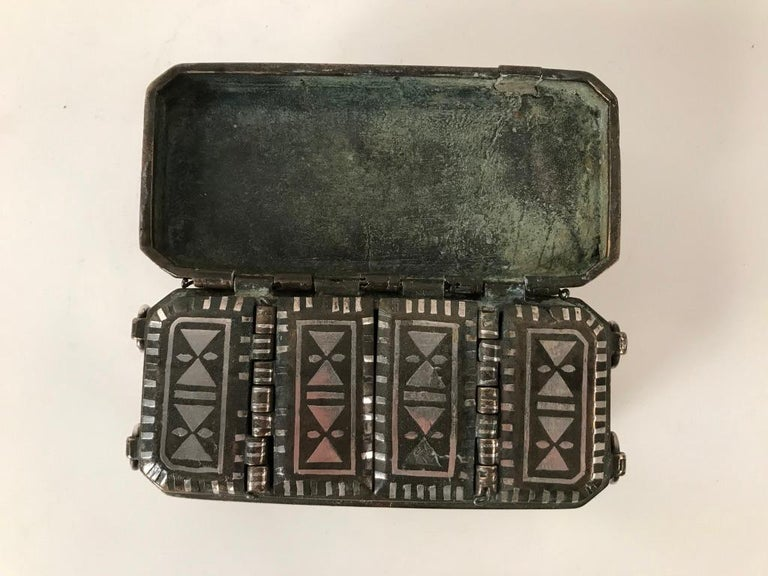 Set of Four Silver and Bronze Inlaid Betel Nut Boxes For Sale 12