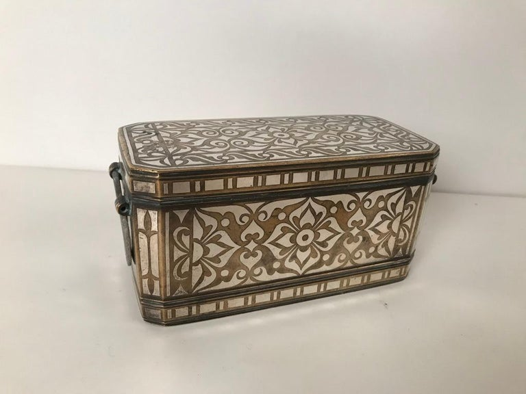 Spanish Colonial Set of Four Silver and Bronze Inlaid Betel Nut Boxes For Sale