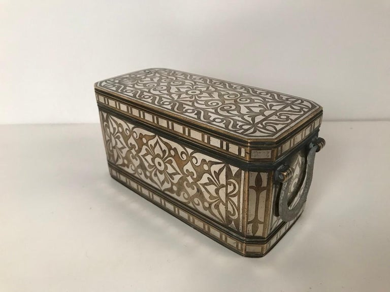 Philippine Set of Four Silver and Bronze Inlaid Betel Nut Boxes For Sale