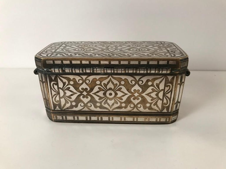 Inlay Set of Four Silver and Bronze Inlaid Betel Nut Boxes For Sale