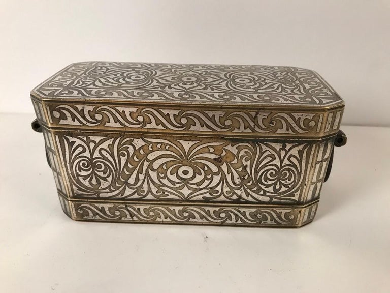 Set of Four Silver and Bronze Inlaid Betel Nut Boxes In Good Condition For Sale In Stamford, CT