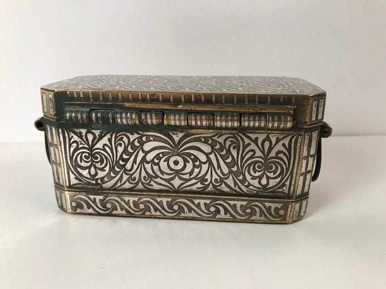 19th Century Set of Four Silver and Bronze Inlaid Betel Nut Boxes For Sale