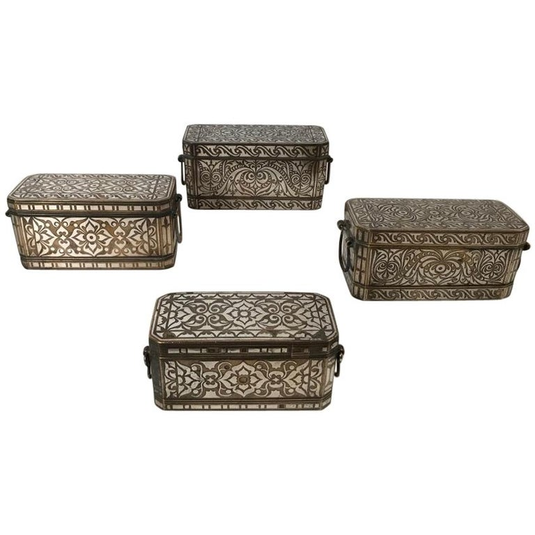 Set of Four Silver and Bronze Inlaid Betel Nut Boxes For Sale