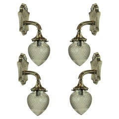 Set of Four Silver Bracket Sconces with Glass Globe Shades