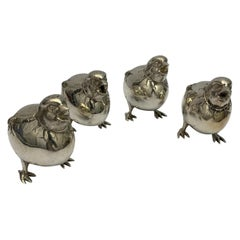 Set of Four Silver Chick Salt and Peppers
