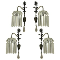 Set of Four Silver Plated and Cut-Glass Edwardian Wall Sconces