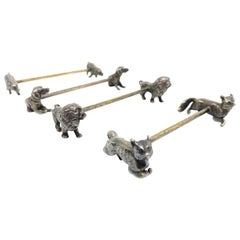 Set Four Silver Plated Animal Motif Knife Rests Lion, Fox, Wild Boar, Dog 1890s