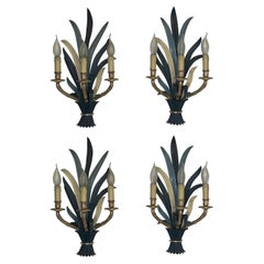 """Set of Four Silvered Bronze """"Feuillage"""" Wall Sconces by Maison Baguès, 1970s"""