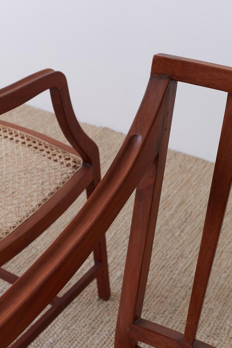 Set of Four Slat Back Cane Dining Armchairs For Sale 9