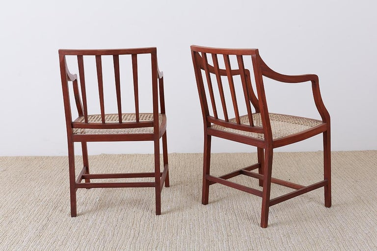 Set of Four Slat Back Cane Dining Armchairs For Sale 10