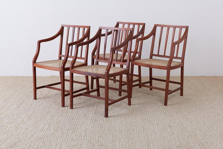 Organic Modern Set of Four Slat Back Cane Dining Armchairs For Sale