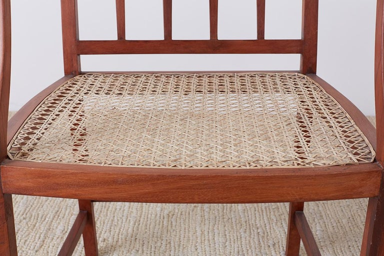 Indian Set of Four Slat Back Cane Dining Armchairs For Sale