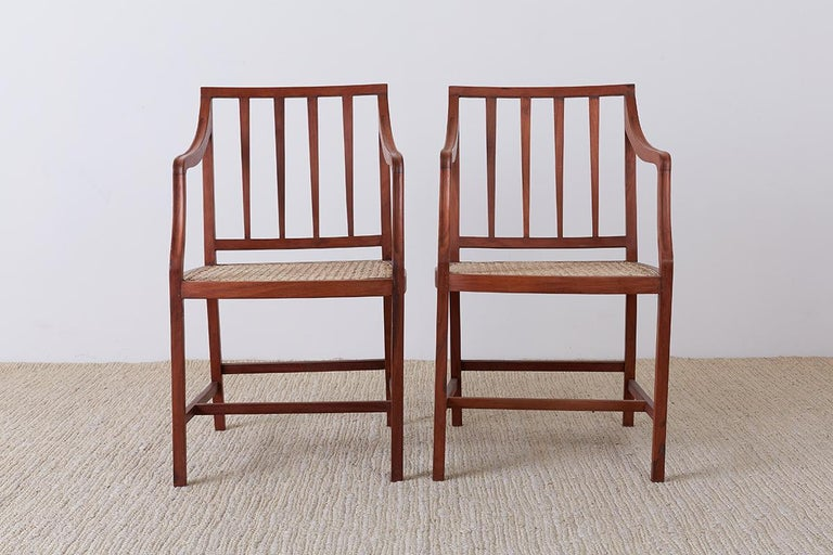 Hand-Carved Set of Four Slat Back Cane Dining Armchairs For Sale