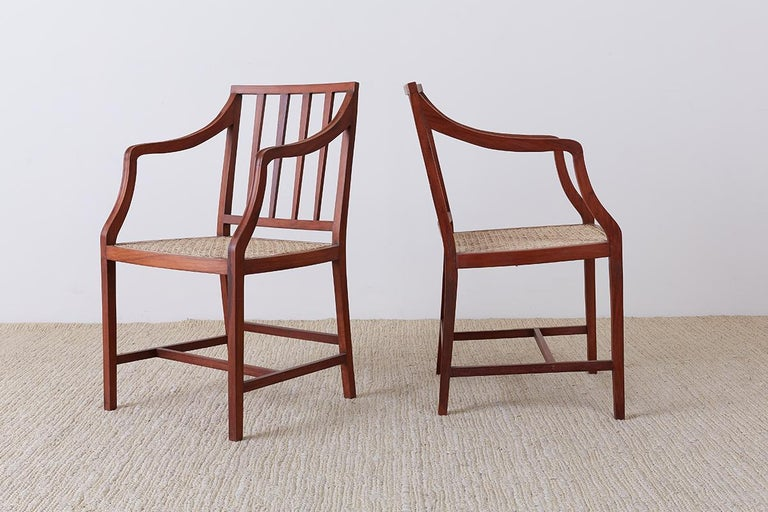 Set of Four Slat Back Cane Dining Armchairs In Good Condition For Sale In Oakland, CA