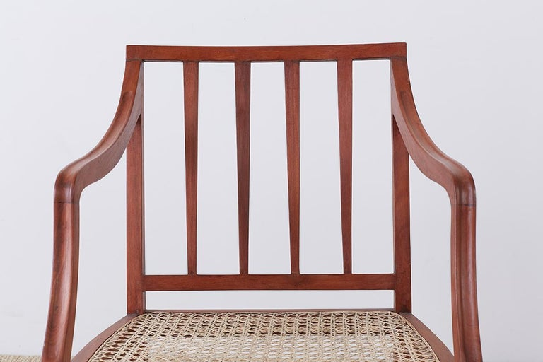 Set of Four Slat Back Cane Dining Armchairs For Sale 2