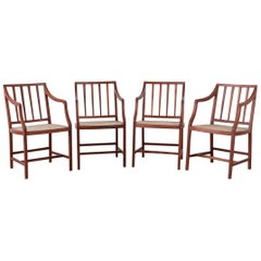 Set of Four Slat Back Cane Dining Armchairs