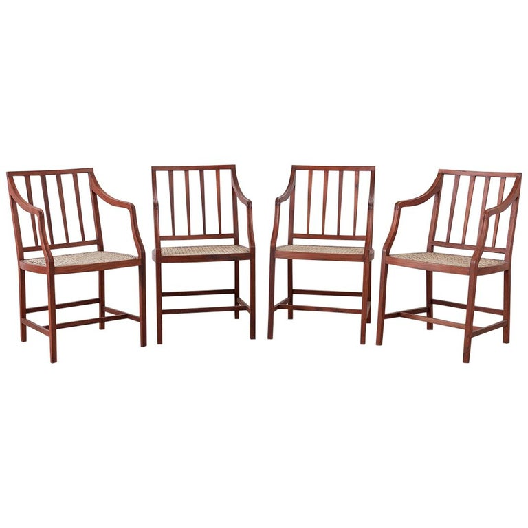 Set of Four Slat Back Cane Dining Armchairs For Sale