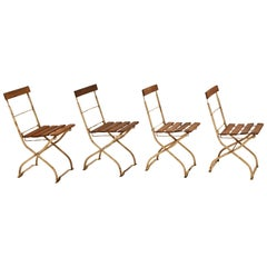 Set of Four Slatted Wood and Metal Folding Outdoor Garden Chairs