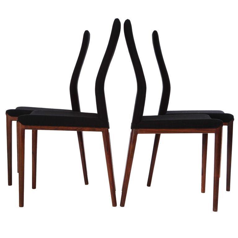 Set of Four Slender Chairs by Vestergaard Jensen