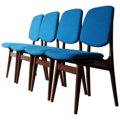 Set of Four Solid Afrormosia Dining Chairs with Blue Wool Upholstery, circa 1961