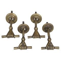 Set of Four Solid Bronze Human-Hand Design Door Handles
