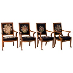 Set of Four Solid Mahogany Empire Armchairs, France, Early 19th Century