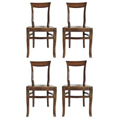 Set of Four Solid Oak Art Deco Dining Chairs from Portugal