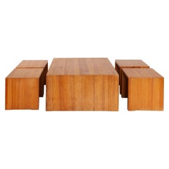 Set of Four Solid Pine Stools and One Coffee Table, 1970s