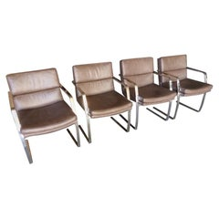 Set of Four Solid Steel Framed Armchairs Attributed to Pace Collection