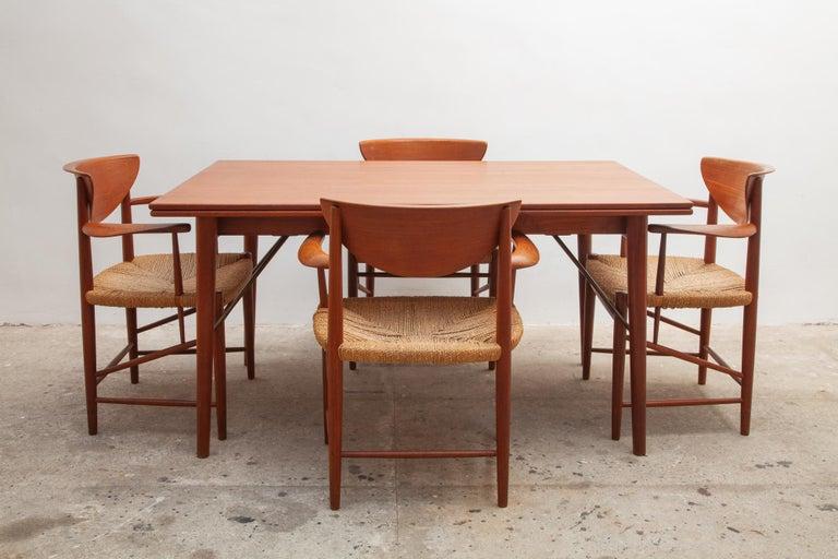 Hand-Carved Set of Four Solid Teak Armchairs by Peter Hvidt, Orla Mølgaard-Nielsen, Denmark For Sale
