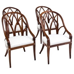 Set of Four Solid Walnut Armchairs, France, circa 1910