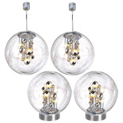 Set of Four Space Age Light Fixtures Doria, Two Pendant and Two Wall Lights