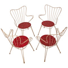 Set of Four Spanish Garden Chairs, White and Red, Spain, 1950s