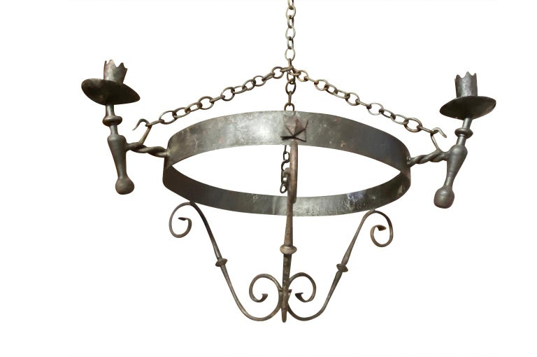 Set of Four Spanish Iron Chandeliers For Sale 6