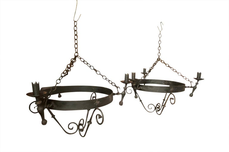 20th Century Set of Four Spanish Iron Chandeliers For Sale