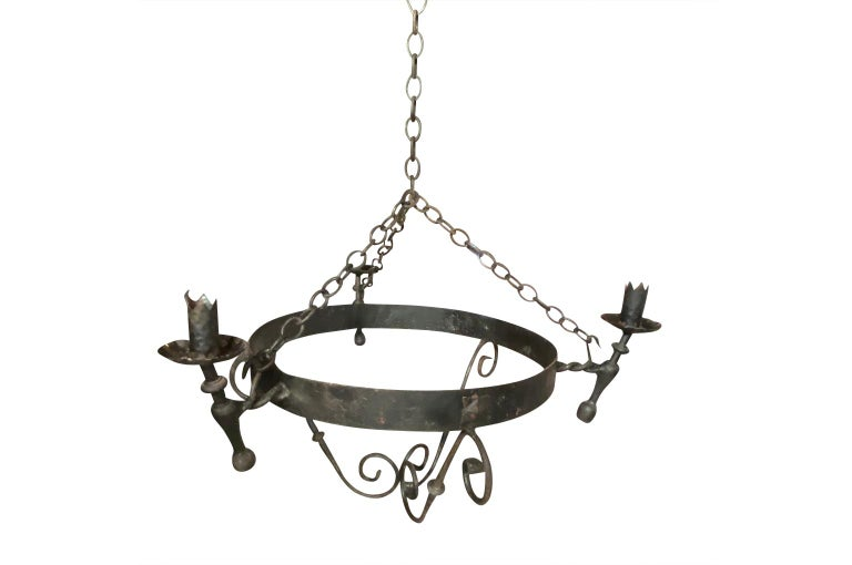 Set of Four Spanish Iron Chandeliers For Sale 5