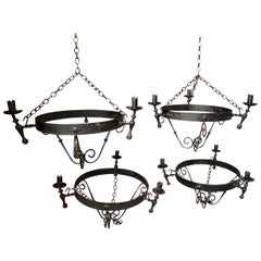 Set of Four Spanish Iron Chandeliers