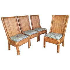 Set of Four Split Reed Rattan High Back Dining Chairs