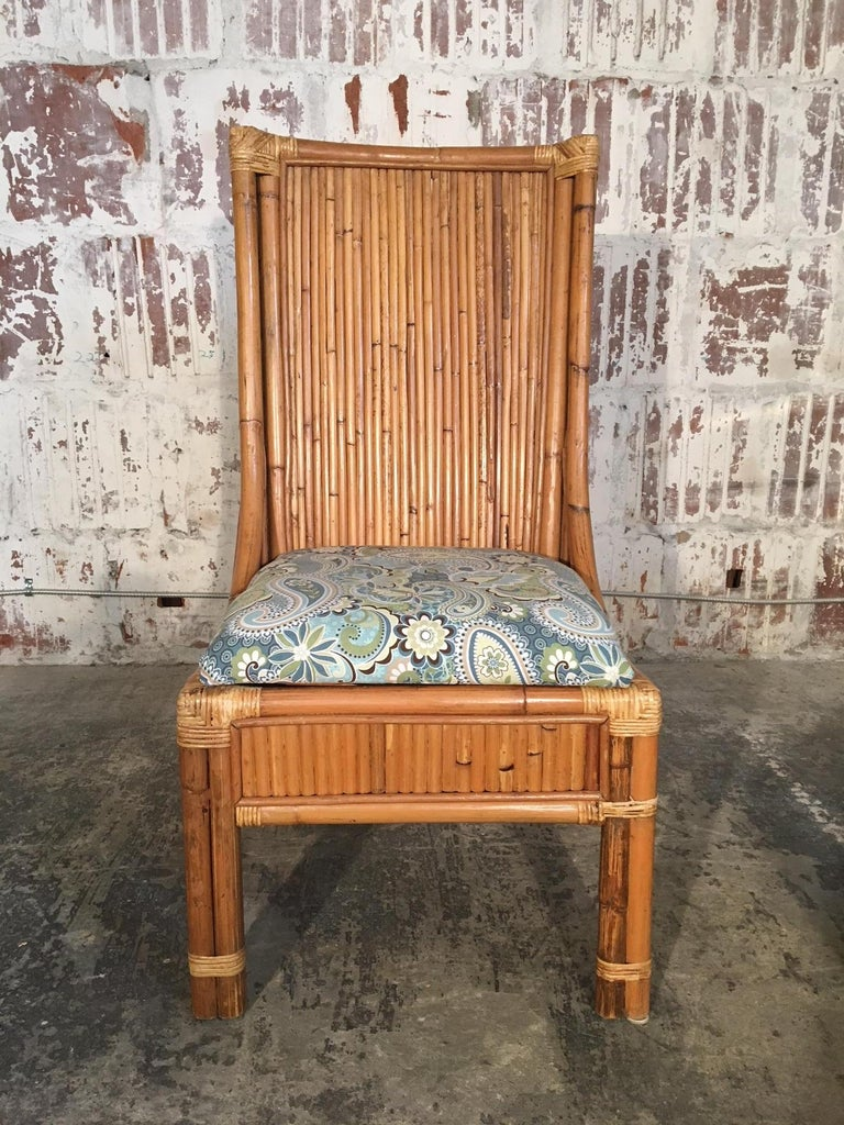 Hollywood Regency Set of Four Split Reed Rattan High Back Dining Chairs For Sale