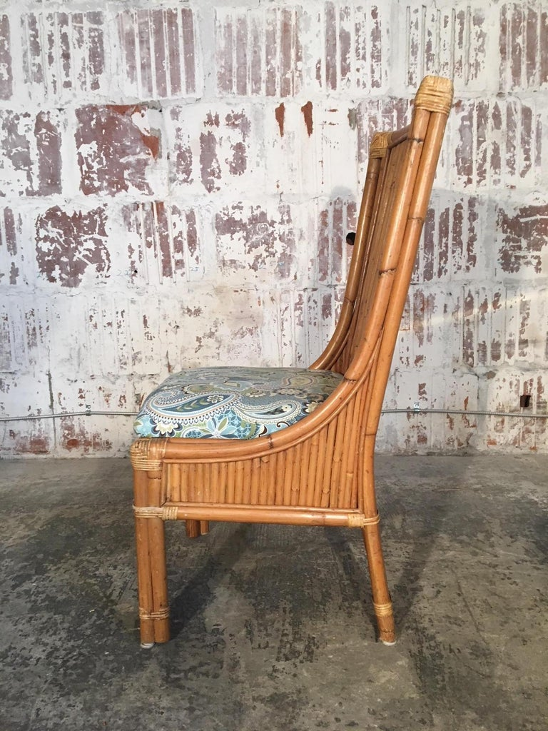 Set of Four Split Reed Rattan High Back Dining Chairs In Good Condition For Sale In Jacksonville, FL