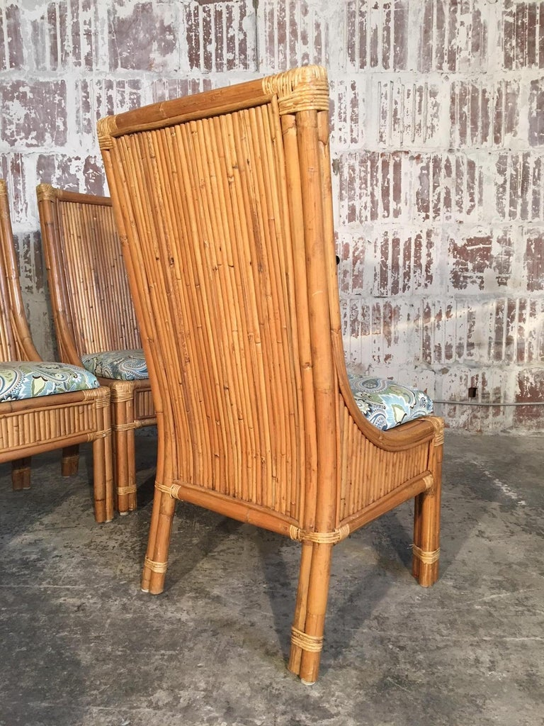 Late 20th Century Set of Four Split Reed Rattan High Back Dining Chairs For Sale