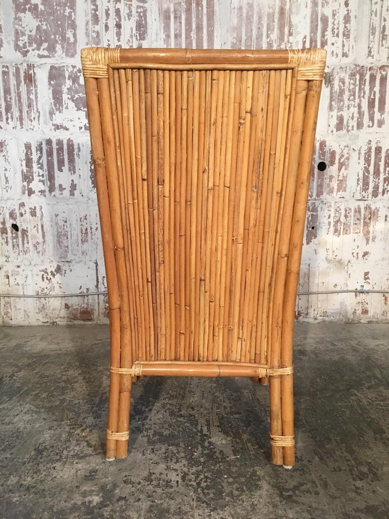 Bamboo Set of Four Split Reed Rattan High Back Dining Chairs For Sale