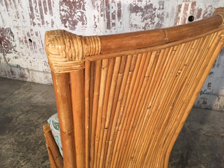 Set of Four Split Reed Rattan High Back Dining Chairs For Sale 1