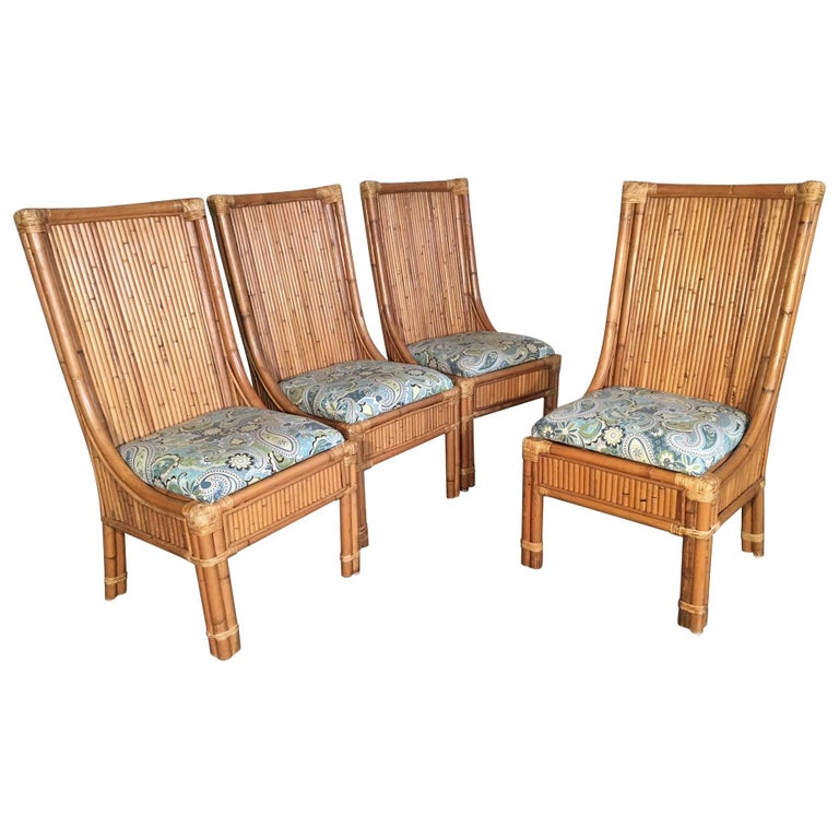 Set of Four Split Reed Rattan High Back Dining Chairs For Sale